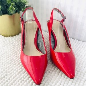 Zara woman sling back pumps pointy toe red patent